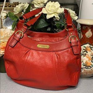 Coach cherry soho leather hobo bag